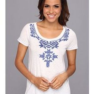Lucky Brand White Embroidered Tee